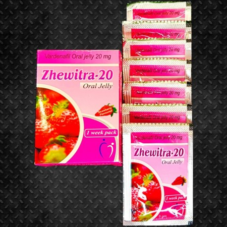 Levitra Oral Jelly Zhewitra 7 Strawberry Taste Packs 20mg Vardenafil